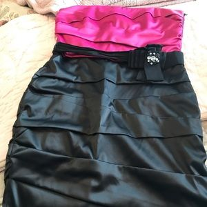 WHBM Pink and Black Coacktail Dress